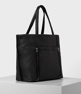 Women's Fleur De Lis East West Tote (Black) - product_image_alt_text_3
