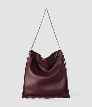 Mujer Fleur De Lis Chain Shoulder Bag (Burgundy)