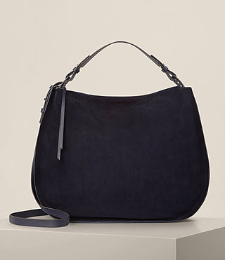 Femmes Grand sac hobo Kanda en cuir velours (Dark Blue)