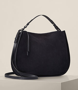 Donne Kanda Large Suede Hobo Bag (Dark Blue) - product_image_alt_text_4
