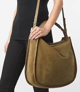 Womens Kanda Large Suede Hobo Bag (Mustard) - product_image_alt_text_2