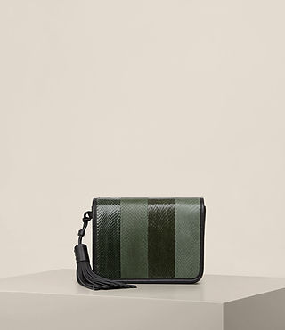 Womens Bansho Snake Shoulder Bag (FOREST GREEN/BLACK) - product_image_alt_text_1