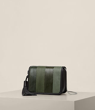 Womens Bansho Snake Shoulder Bag (FOREST GREEN/BLACK) - product_image_alt_text_3