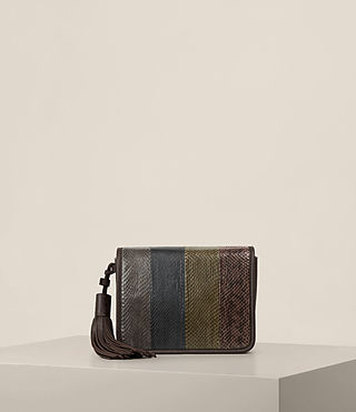 Damen Bansho Snake Shoulder Bag (EBONY BROWN)