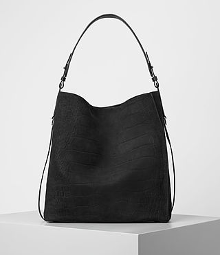 Femmes Paradise North South Croc Leather Tote (Black)