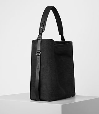 Femmes Paradise North South Croc Leather Tote (Black) - product_image_alt_text_4