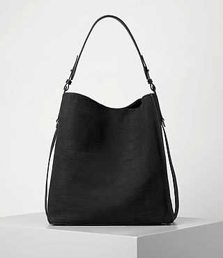 Femmes Paradise North South Croc Leather Tote (Black) - product_image_alt_text_6