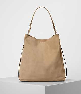 Womens Paradise North South Suede Tote (Sand) - product_image_alt_text_1