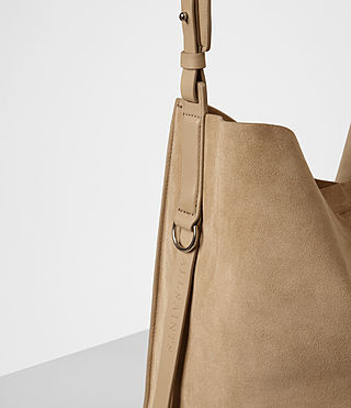 Womens Paradise North South Suede Tote (Sand) - product_image_alt_text_2