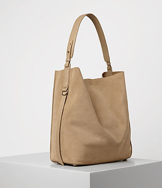 Womens Paradise North South Suede Tote (Sand) - product_image_alt_text_3