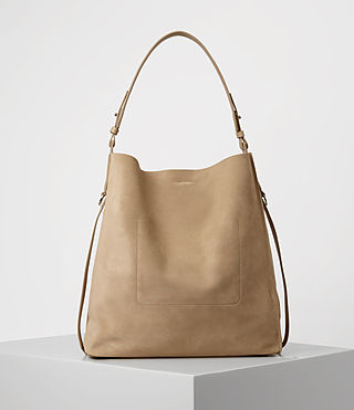 Womens Paradise North South Suede Tote (Sand) - product_image_alt_text_4