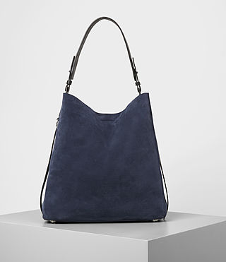 Mujer Paradise North South Suede Tote (PETROL BLUE/BLACK)