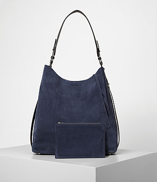 Mujer Paradise North South Suede Tote (PETROL BLUE/BLACK) - product_image_alt_text_5