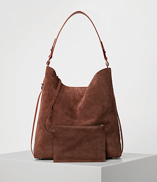 Damen Paradise North South Suede Tote (BRANDY/BRICK BROWN) - product_image_alt_text_6