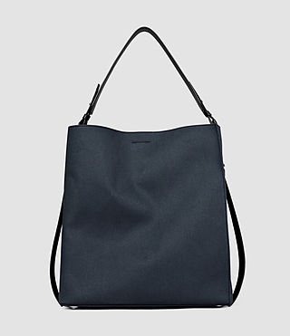 Women's Paradise Canvas North South Tote (PETROL BLUE/BLACK)