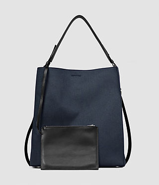 Women's Paradise Canvas North South Tote (PETROL BLUE/BLACK) - product_image_alt_text_3