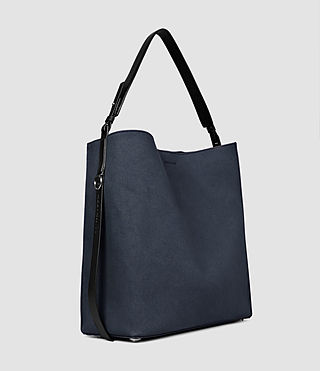 Women's Paradise Canvas North South Tote (PETROL BLUE/BLACK) - product_image_alt_text_4