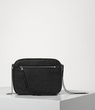 Women's Fleur De Lis Tweed Crossbody (Black) - product_image_alt_text_6
