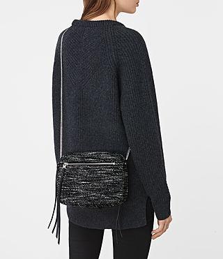 Womens Fleur De Lis Tweed Crossbody (Black/White) - product_image_alt_text_2