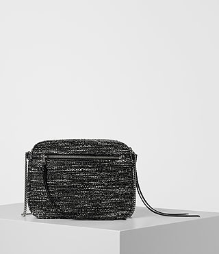 Womens Fleur De Lis Tweed Crossbody (Black/White) - product_image_alt_text_6