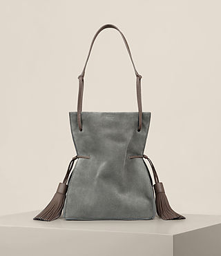 Womens Freedom Suede Bucket Bag (Smoke Grey)