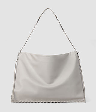 Mujer Fleur De Lis Chain Shoulder Hobo (Light Grey) - product_image_alt_text_1