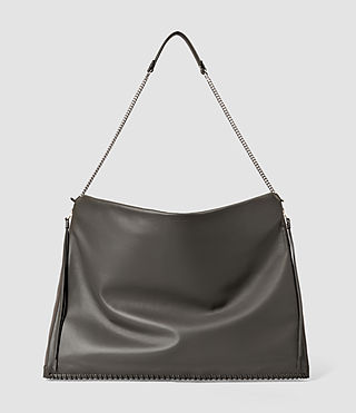 Donne Fleur De Lis Large Hobo Bag (Dark Grey)