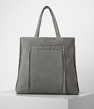 Womens Fleur De Lis Braid North/South Tote (Mid Grey)