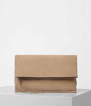 Women's Fleur De Lis Foldover Bag (Sand)