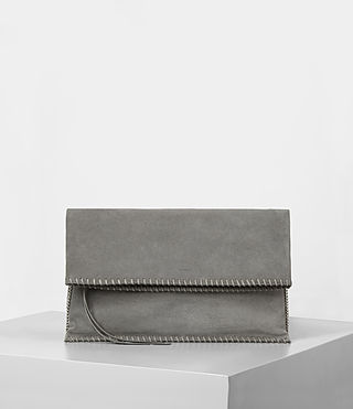 Women's Fleur De Lis Foldover Bag (Mid Grey) -