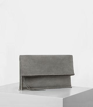 Women's Fleur De Lis Foldover Bag (Mid Grey) - product_image_alt_text_3
