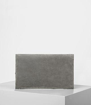 Women's Fleur De Lis Foldover Bag (Mid Grey) - product_image_alt_text_5