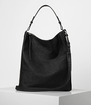 Womens Kita Large Tweed North South Tote (Black)
