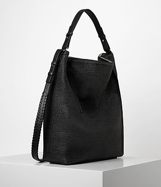 Womens Kita Large Tweed North South Tote (Black) - product_image_alt_text_4