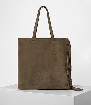 Damen Club New Lea Fringe Tote (Dark Khaki Green)