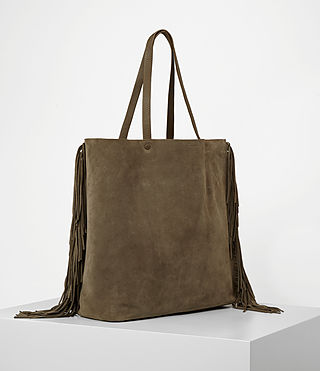 Women's Club New Lea Fringe Tote (Dark Khaki Green) - product_image_alt_text_2