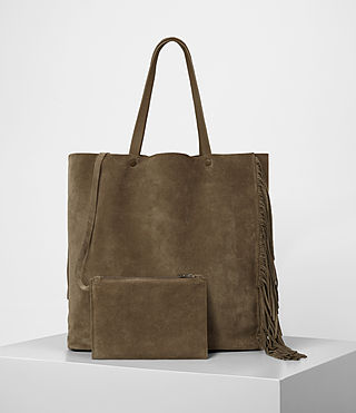Women's Club New Lea Fringe Tote (Dark Khaki Green) - product_image_alt_text_4