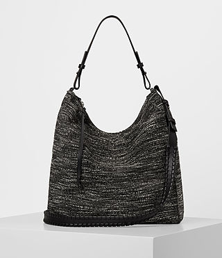 Damen Kita Tweed North South Tote (Black/White) -