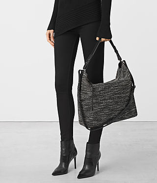 Damen Kita Tweed North South Tote (Black/White) - product_image_alt_text_2