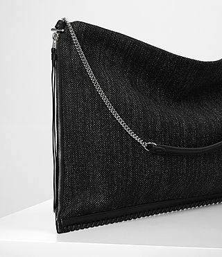 Damen Fleur De Lis Chain Shoulder Hobo/Black (Black/Black) - product_image_alt_text_2