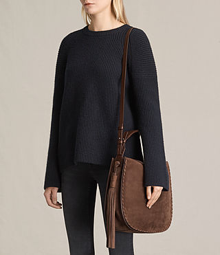Damen Mori Nubuck Hobo Bag (Chocolate Brown) - product_image_alt_text_2