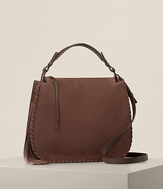 Damen Mori Nubuck Hobo Bag (Chocolate Brown) - product_image_alt_text_5