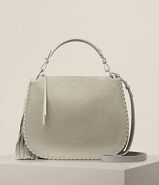 Damen Mori Nubuck Hobo Bag (LIGHT CEMENT GREY)