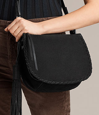 Women's Mori Nubuck Crossbody (Black) - product_image_alt_text_2