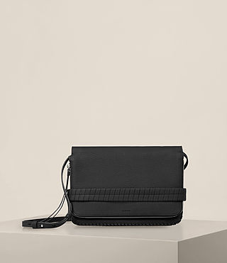 Womens Club Leather Clutch (Black) - Image 1