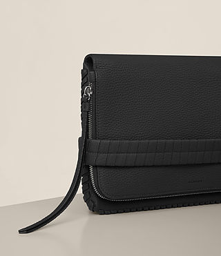 Womens Club Leather Clutch (Black) - Image 3