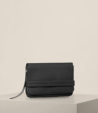 Womens Club Leather Clutch (Black) - Image 5