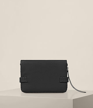 Womens Club Leather Clutch (Black) - Image 7