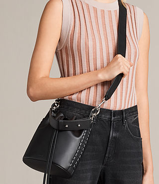 Women's Ray Small Bucket Bag (Black) - Image 3