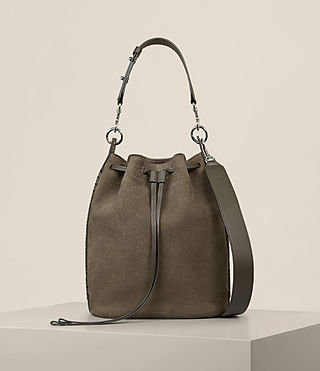 Womens Ray Nubuck Bucket Bag (MINK GREY) - Image 1